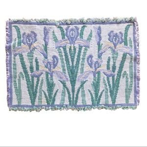 Vintage woven tapestry placemats iris cottagecore